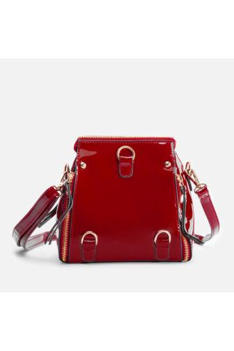 Piros lakk 2in1 oldaltáska és hátizsák egyben
