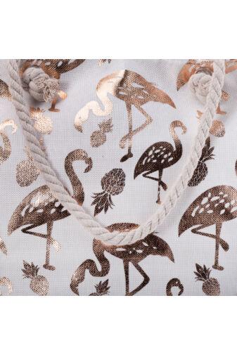 Nagyméretű Arany Flamingómintás Dekoratív Strandtáska Fonott Pánttal