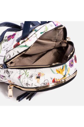 Virágos női műbőr hátizsák (rózsaszín)
