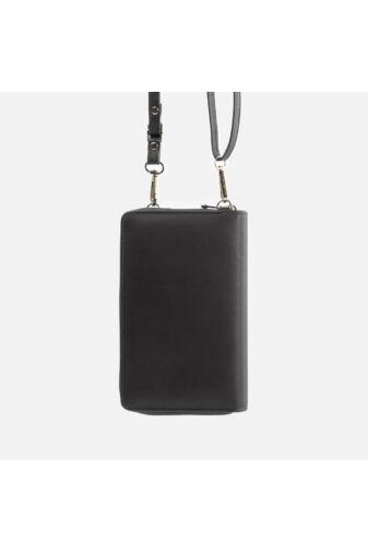 Fekete műbőr pénztárca és válltáska egyben