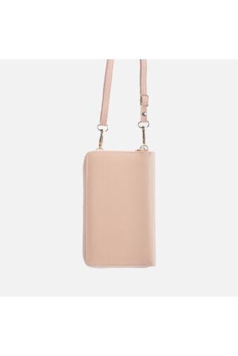Halvány rózsaszín műbőr pénztárca és válltáska egyben