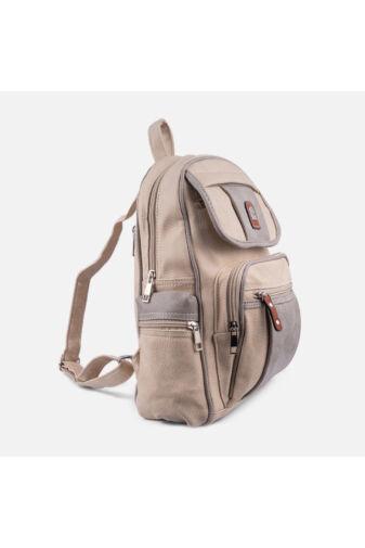Khaki műbőr sok zsebes hátizsák