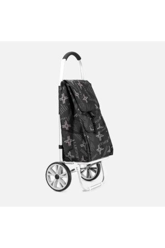 Fekete gurulós bevásárlókocsi - 2 kerekű