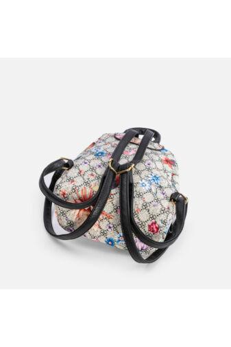 Virágmintás kis méretű női műbőr hátizsák