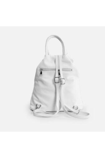 Két cipzáras 3 in 1 műbőr női fehér hátizsák