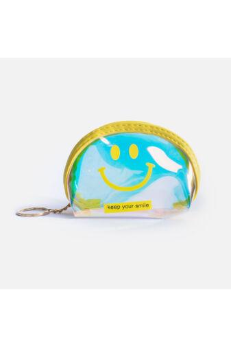Átlátszó hologramos Smilye-s mini kulcstartós neszeszer - Kék