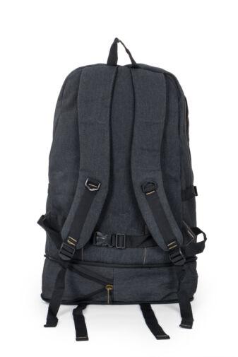 Fekete vászon bővíthető túra hátizsák