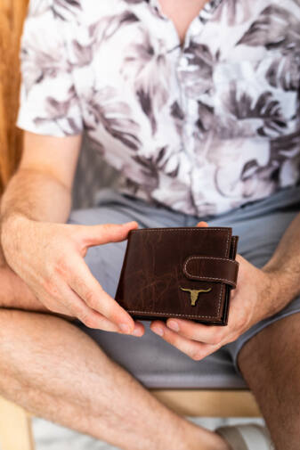 Fekete Buffalo Wild Férfi Bőr pénztárca