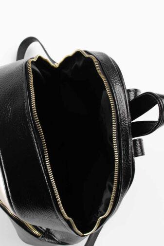 Prestige Fekete-Rózsaarany Női Rostbőr Hátizsák