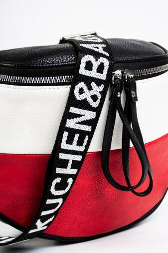 Fekete-fehér-Piros Színű Keresztpántos Műbőr Táska