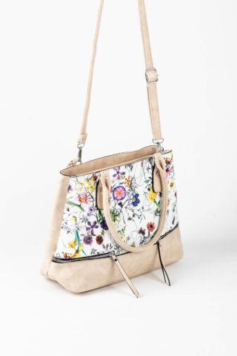 R&J Bézs Virágmintás Műbőr Női Kézitáska