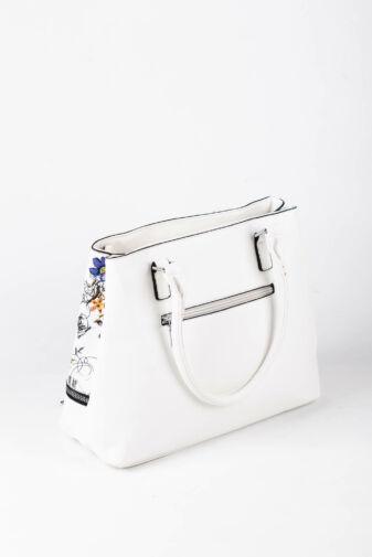 R&J Fehér Virágmintás Műbőr Női Kézitáska