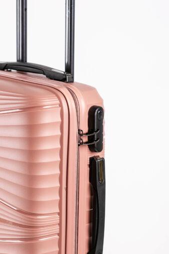 Rózsaarany Kemény Bőrönd Szett