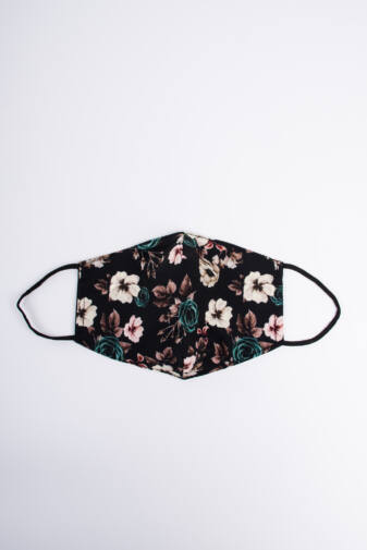 Fekete Őszi Rózsás 2 Rétegű Trendi Textil Szájmaszk