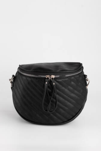 Fekete Színű Műbőr Női Keresztpántos táska