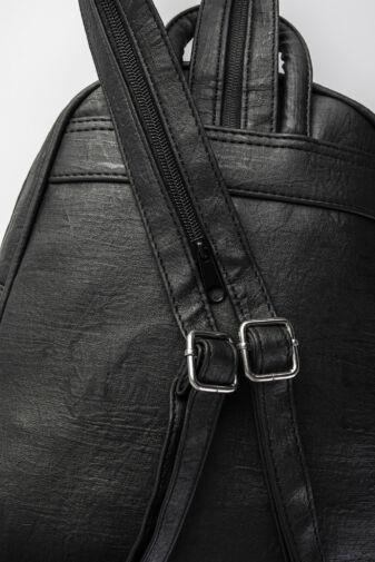 Fekete műbőr cipzáros pántos hátizsák és Válltáska egyben