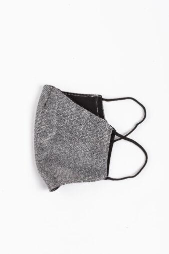 Ezüst Színű Csillogó 2 Rétegű Trendi Textil Szájmaszk