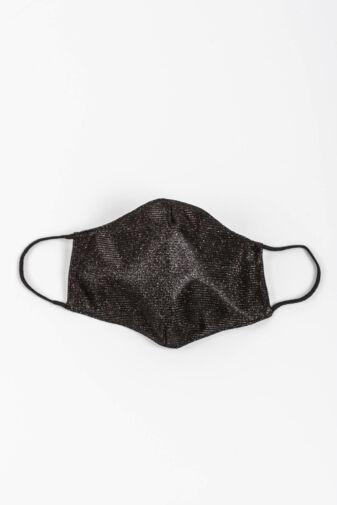 Fekete Csillogó 2 Rétegű Trendi Textil Szájmaszk