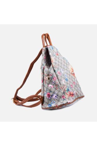 Szürke virágmintás háromszög alakú hátizsák