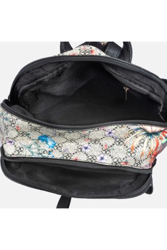 Divatos szürke virágmintás műbőr hátizsák