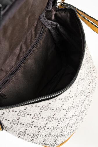 R&J Bézs-Mustársárga Mintás Műbőr Női Keresztpántos Táska
