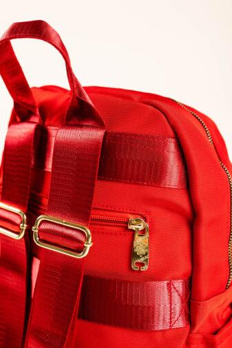 Piros Sok Zsebes Női Poliészter Hátizsák