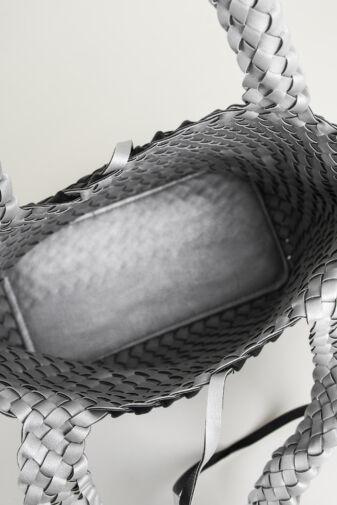 R&J Ezüst-Pezsgő Színű Kifordítható Fonott Válltáska + Oldaltáska