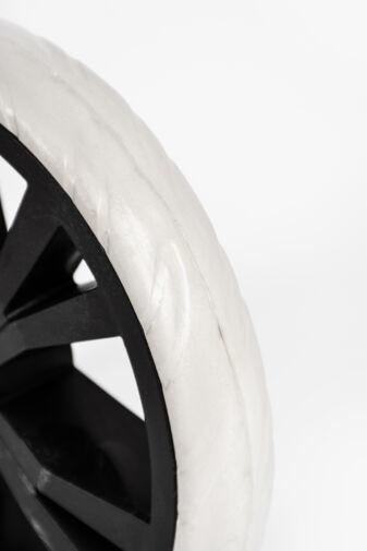 Fehér Műanyag Nagyméretű Bordázott Kerék Bevásárlókocsihoz
