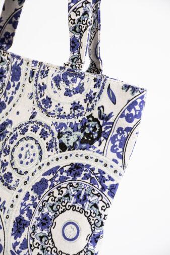 Kék Ornamentikus Mintás Cipzáros Vászontáska
