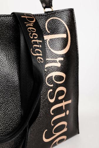 Prestige Fekete Fényes Rostbőr Női Váll- és Kézitáska Neszeszerrel