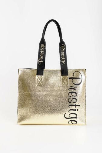 Prestige Aranyszínű Fényes Rostbőr Női Váll- és Kézitáska Neszeszerrel