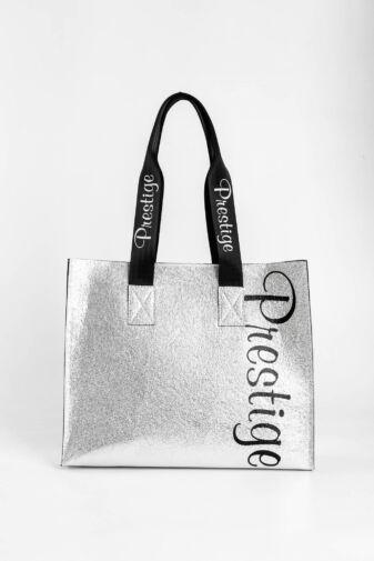 Prestige Ezüst Fényes Rostbőr Női Váll- és Kézitáska Neszeszerrel