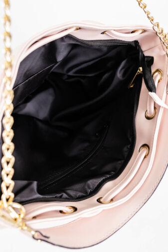 Prestige Világos Rózsaszín Női Rostbőr Kézitáska Lánccal