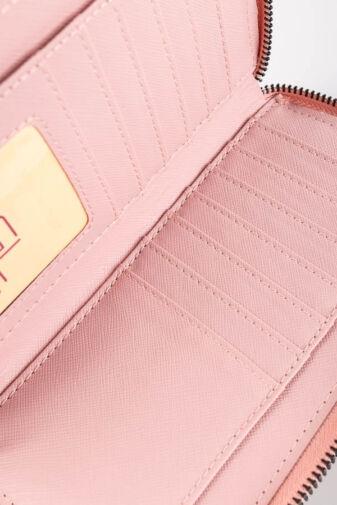 R&J Világos Rózsaszín Műbőr Duplacipzáros Mintás Női Pénztárca