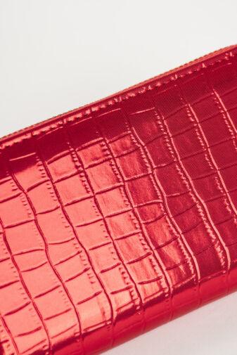 Piros Metálfényű Nagy Méretű Női Krokodilbőr Mintás Pénztárca