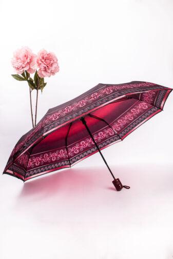 Bordó Összecsukható Nőies Mintájú Automata Esernyő, 96 cm Átmérővel