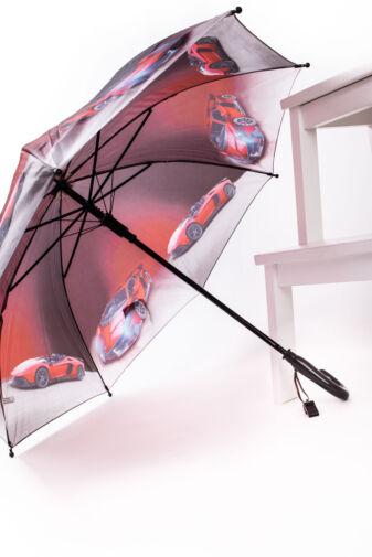 Kávébarna Színű Automata Ferrari Mintás Gyermek Esernyő, 85 cm Átmérővel