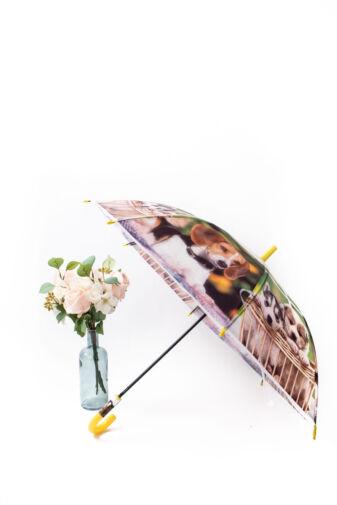 Sárga Színű Automata Kiskutyamintás Gyermek Esernyő, 80 cm Átmérővel