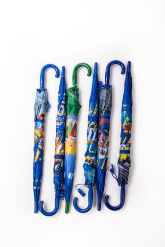 Sötétkék Motormintás Gyermek Esernyő, 80 cm Átmérővel