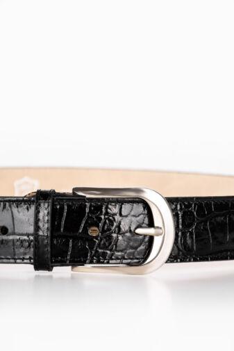 Prestige Fekete Kígyómintás Lakk Valódi Bőr Öv, 95 cm