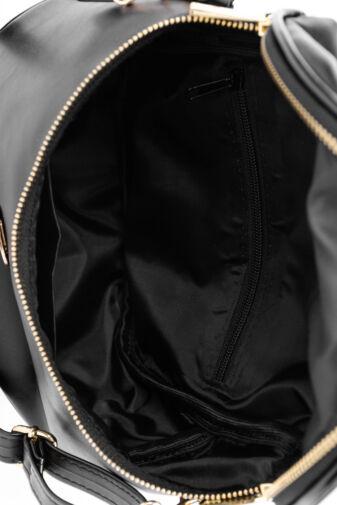 Prestige Fekete Rostbőr Válltáska Ezüst Fémrészekkel