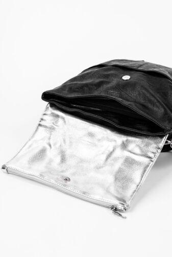 Fekete És Ezüst 2in1 Többféleképpen Hordható Műbőr Hátizsák