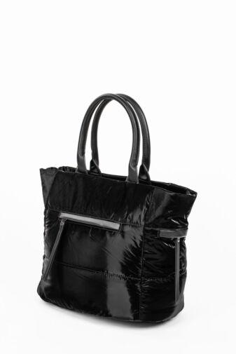Fekete Női PVC Anyagú Vízhatlan Sportos Oldaltáska És Kézitáska