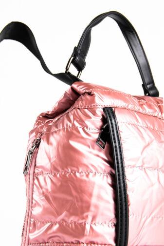 Rózsaszín Fényes Vízlepergető Anyagú Női Hátizsák