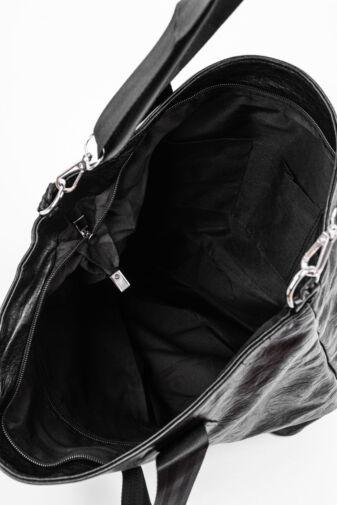 Fekete-Ezüst Színű Műbőr Pakolós Válltáska