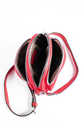 Piros Vízlepergető Anyagú Oldaltáska Cipzár Díszítéssel