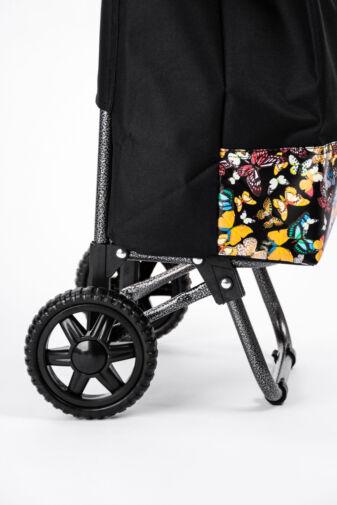 Fekete Sárga Pillangómintás Kerekes Bevásárlókocsi