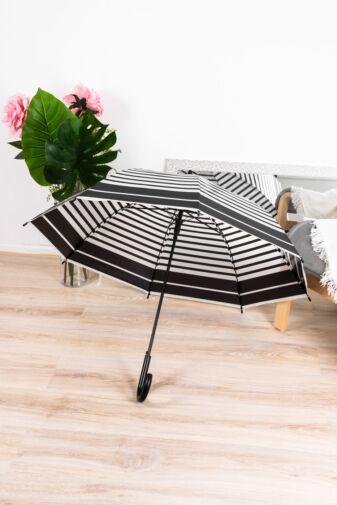 Fekete Csíkos Mintás Áttetsző Bot Esernyő, 116 cm Átmérővel