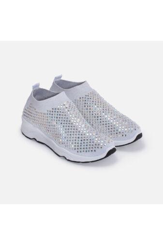 Ezüst csillogó köves zoknicipő