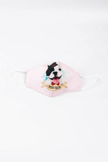 Rózsaszínű Francia Bulldogos 2 Rétegű Trendi Textil Szájmaszk